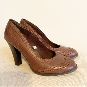 Leather block heel brown heels